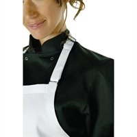 A923 - Chef Works Adjustable Neck Bib Apron White with Pockets