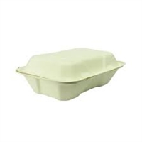 GH026 -  Vegware Compostable Bagasse Clamshell Hinged Meal Boxes 228mm (Pack of 200)