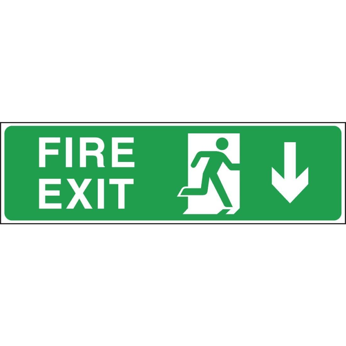W300 - Fire Exit Arrow Down Sign